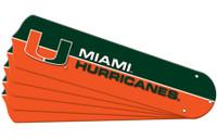 "New NCAA MIAMI HURRICANES 52"" Ceiling Fan Blade Set"