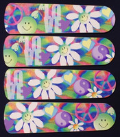 """New PEACE LOVE 60'S FLOWERS 42"""" Ceiling Fan BLADES ONLY"""