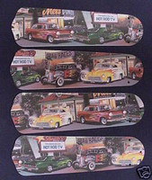 """New HOT ROD CARS DINER 42"""" Ceiling Fan BLADES ONLY"""