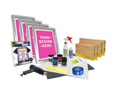 4 Color Supply Kit with Water Based Inks & Pre-burned Screens