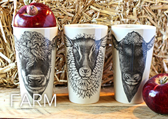 Farmyard animal tumblers by Laura Zindel Design