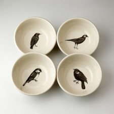 Set of 4 Cereal Bowls: Black Birds