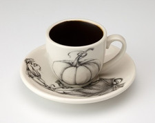 Espresso Cup and Saucer: Ghost Pumpkin