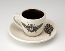 Espresso Cup and Saucer: Goliath Beetle Open Wing