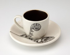 Espresso Cup and Saucer: Coiled Wood Fern