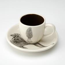 Espresso Cup and Saucer: Morel Mushroom