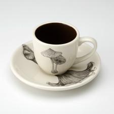 Espresso Cup and Saucer: Parasol Mushroom