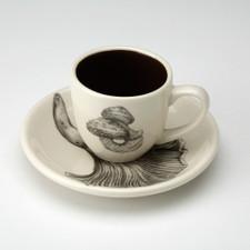 Espresso Cup and Saucer: Scaly Cap Mushroom