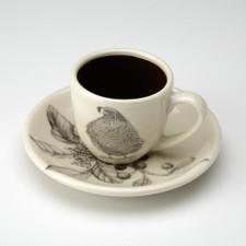 Espresso Cup and Saucer: Quail #3