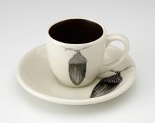 Espresso Cup and Saucer: Black Oak Acorn