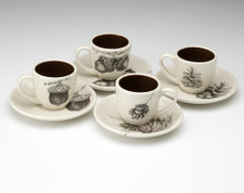 Espresso Set of 4: Acorns/Pine Cones