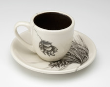 Espresso Cup and Saucer: Small Pine Cone