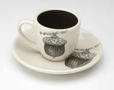 Espresso Cup and Saucer: Red Oak Acorn