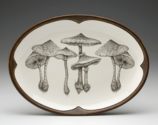 Small Oval Platter: Parasol Mushroom
