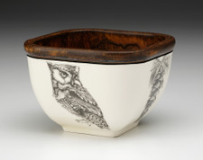 Small Square Bowl: Screech Owl #1