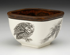 Small Square Bowl: Screech Owl #2