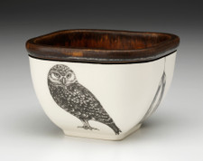 Small Square Bowl: Burrowing Owl