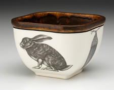 Small Square Bowl: Crouching Hare