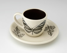 Espresso Cup and Saucer: Zebra Butterfly