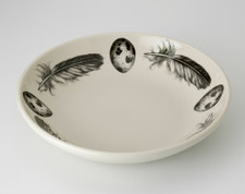 Shallow Bowl: Quail Feather and Egg