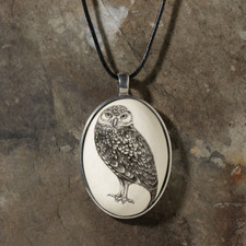 Ceramic Pendant - Burrowing Owl - Laura Zindel Design