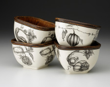 Set of 4 Square Bowls: Gourds