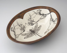 Large Serving Dish: Dragonfly with Magnolia Branch