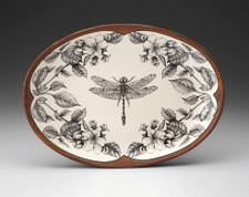 Small Oval Platter: Dragonfly with Apple Blossom