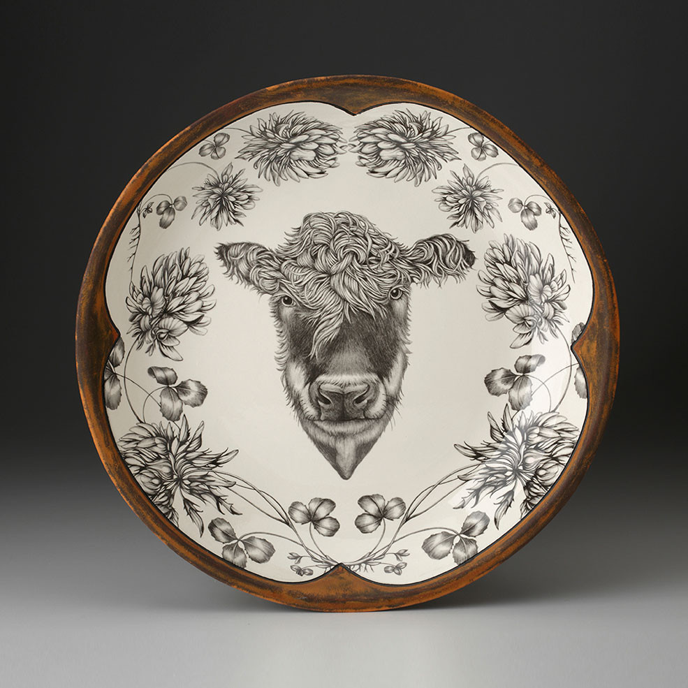 Small Round Platter Hereford Cow Laura Zindel Design