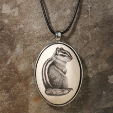Ceramic Pendant: Chipmunk #3