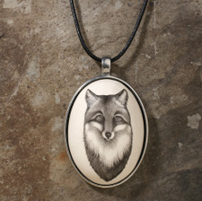 Ceramic Pendant: Fox Portrait
