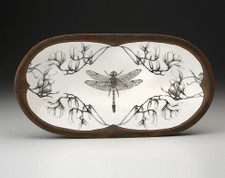 Rectangular Serving Dish: Dragonfly with Magnolia Branch
