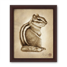 Prints : Chipmunk #3, 8X10 Framed