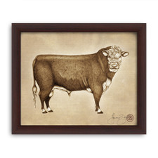 Prints : Hereford Bull, 8X10 Framed