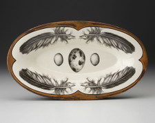 Oblong Serving Dish: Quail Feather & Egg