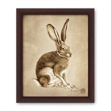 Prints : Sitting Hare, 8X10 Framed
