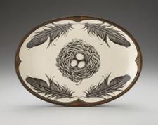 Small Oval Platter: Black Bird Nest