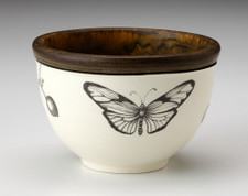 Small Round Bowl: Marble Butterfly