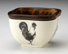 Small Square Bowl: Rooster