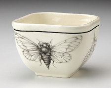 Small Square Bowl: Open Wing Cicada