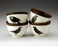 Set of 4 Round Bowls: Black Birds