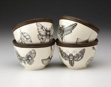 Set of 4 Round Bowls: Moth