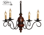 Katie's Handcrafted Lighting Queen Anne Mini Wood Chandelier Pictured In Original Finish: Base Coat Color = Barn Red, Top Coat Color = Black Rub, Trim Color = Spicy Mustard