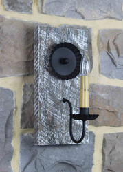 Katie's Handcrafted Lighting Barn Wood Electric Wall Sconce - Antique Slate With White Finish