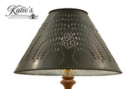 Hand Punched Tin Lamp Shade With Willow Design, Finished In Aged Black. Made In USA by Katie's Handcrafted Lighting