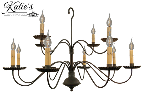 Katie's Handcrafted Lighting Monticello Chandelier Finished In Aged Black Finish