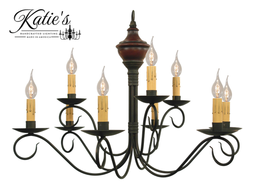 Katie's Handcrafted Lighting Washington Wood 2-Tier Chandelier Pictured In: Base Coat Color = Barn Red, Top Coat Color = Black Rub, Trim Color = None