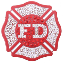ReadyGolf - Fire Department Ball Marker & Hat Clip with Crystals