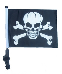 PIRATE SKULL & CROSS BONES 11x15 inch Golf Cart Flag with Pole