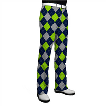 Loudmouth Golf Mens Pants - SeaGuile (Blue, Silver & Sea Green Argyle)
